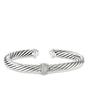 David Yurman Sterling Silver Classic Diamond Cable Cuff Bracelet