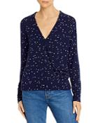 Sundry Star Print Crossover Sweater