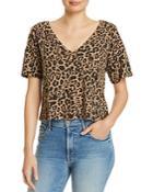 Lna Leopard-print V-neck Tee