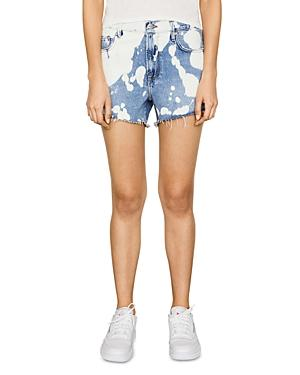 Frame Le Ultra Baggy Splattered Jean Shorts In Baltic Splash