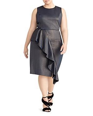 Rachel Roy Plus Augustine Metallic Ruffle Dress