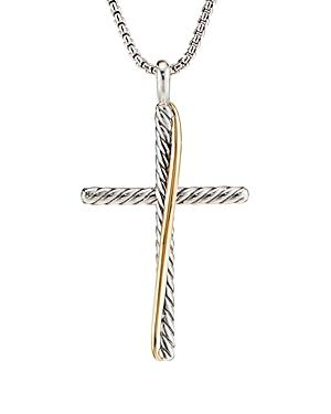 David Yurman Sterling Silver & 18k Yellow Gold Crossover Xl Cross Necklace, 18