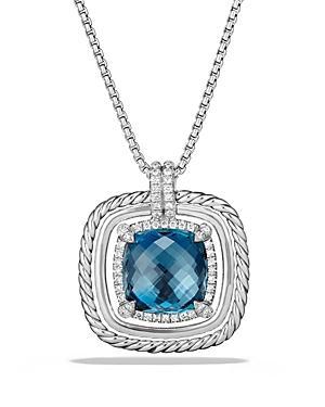 David Yurman Chatelaine Pave Bezel Necklace With Hampton Blue Topaz And Diamonds