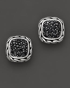 John Hardy Kali Lava Small Square Stud Earrings With Black Sapphire