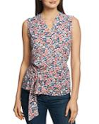 1.state Sleeveless Floral-print Wrap Top