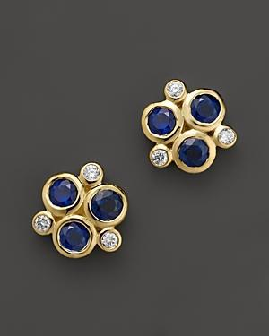 Temple St. Clair 18k Yellow Gold Classic Triple Stone Earrings With Blue Sapphires And Diamonds
