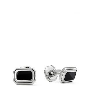 David Yurman Deco Cufflinks With Black Onyx & Sterling Silver