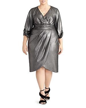Rachel Roy Plus Metallic Faux Wrap Dress