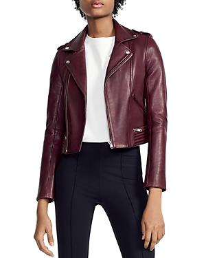 Maje Basilta Cropped Moto Jacket In Burgundy