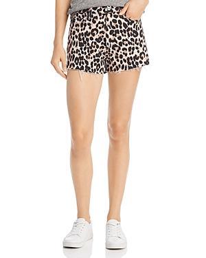 Paige Margot Cutoff Shorts In Pink Leopard