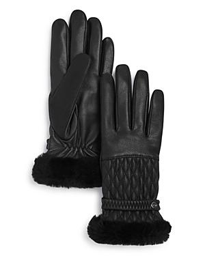 Ugg Quilted Shearling-cuff Leather Tech Gloves
