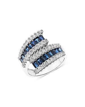 Bloomingdales Sapphire & Diamond Bypass Ring In 14k White Gold - 100% Exclusive