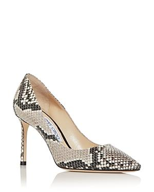 Jimmy Choo Women's Romy 85 Snake-embossed Pointed-toe Pumps