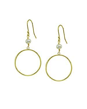 Aqua Cultured Pearl & Circle Drop Earrings - 100% Exclusive