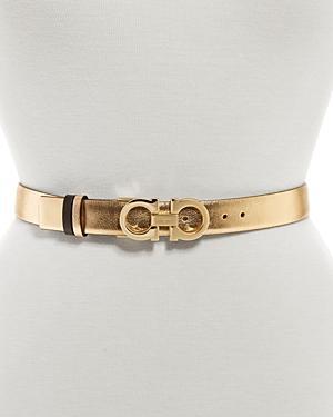 Salvatore Ferragamo Women's Double Gancini Metallic Leather Belt