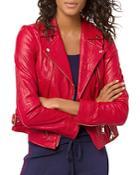 Michael Michael Kors Crinkled-texture Leather Moto Jacket