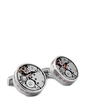Tateossian Rhodium Plated Watch Skeleton Round Cufflinks