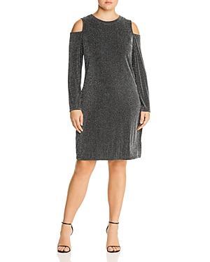 Michael Michael Kors Plus Metallic Ribbed Cold Shoulder Dress