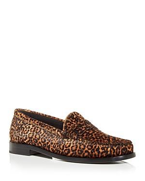 Saint Laurent Men's Leopard Print Calf Hair Penny Loafers