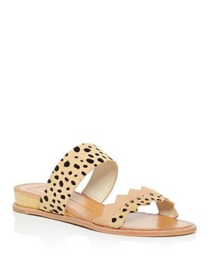 Dolce Vita Pacer Calf Hair Leopard-print Demi Wedge Slide Sandals