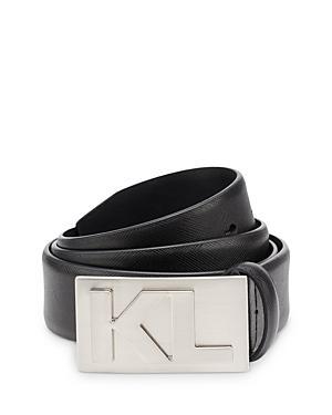 Karl Lagerfeld Paris Men's Kl Plaque Buckle Saffiano Leather Belt