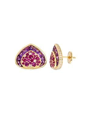 Marina B 18k Yellow Gold Dora Stud Earrings With Pink Sapphires, Amethyst & Diamonds