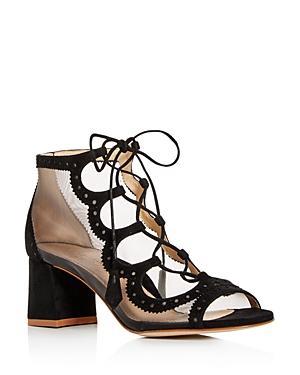 Marion Parke Women's Brogue Suede Open Toe Block-heel Booties