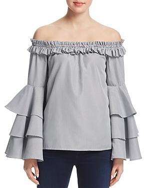 Aqua Tiered Sleeve Off-the-shoulder Top - 100% Exclusive