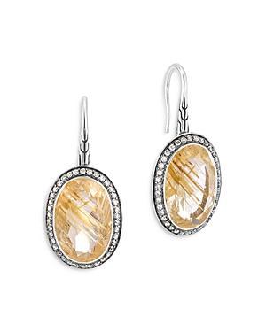 John Hardy Sterling Silver Classic Chain Rutilated Quartz & Diamond Oval Drop Earrings