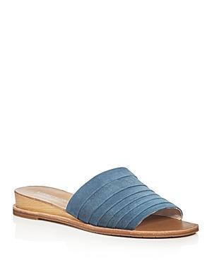Kenneth Cole Janie Suede Demi Wedge Slide Sandals