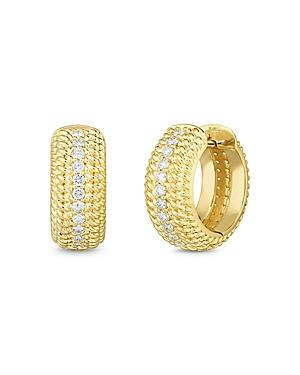 Roberto Coin 18k Yellow Gold Diamond Opera Huggie Hoop Earrings