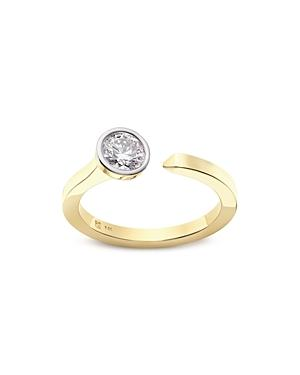 Lightbox Jewelry Solitaire Lab-grown Diamond Open Top Ring In Yellow Gold-plated Sterling Silver