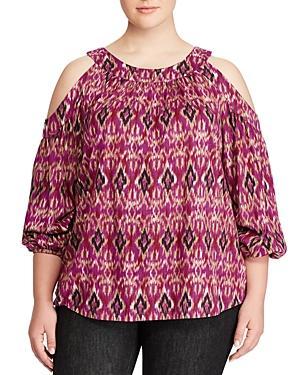 Lauren Ralph Lauren Plus Ikat Print Cold-shoulder Top
