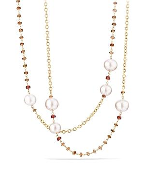 David Yurman Solari Link Necklace In 18k Gold With Cultured Yellow South Sea Pearl And Andalusite