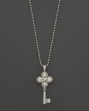 Lagos Sterling Silver Pearl Key Pendant Necklace, 34
