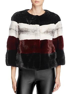 Maximilian Furs Striped Mink Fur Coat - Bloomingdale's Exclusive