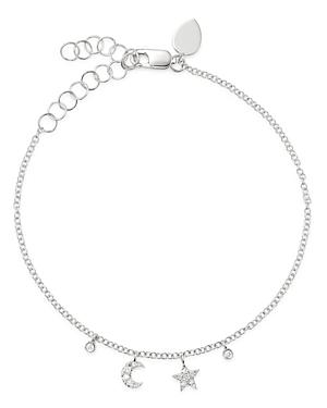 Meira T 14k White Gold Diamond Moon & Star Bracelet