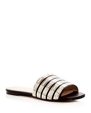Botkier Women's Marley Leather Stripe Slide Sandals