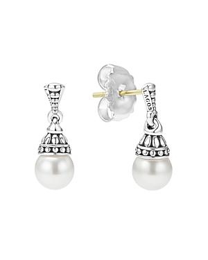 Lagos Sterling Silver Luna Cultured Freshwater Pearl Drop Earrings