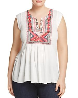 Lucky Brand Plus Embroidered Tank