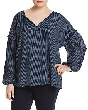Lucky Brand Plus Crochet-inset Peasant Top