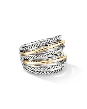 David Yurman Sterling Silver & 18k Yellow Gold Crossover Wide Ring