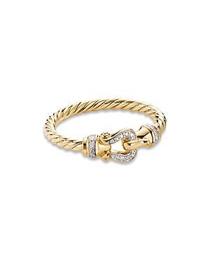 David Yurman Petite Buckle Ring In 18k Yellow Gold With Diamonds