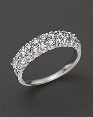 Diamond Double Row Band In 14k White Gold, .50 Ct. T.w.