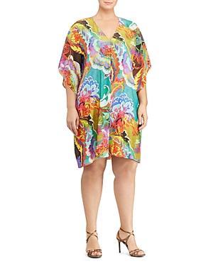Lauren Ralph Lauren Plus Floral Print Flutter Sleeve Dress