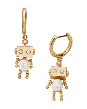 Baublebar Roboto Gold-tone Simulated Pearl & Ball Chain Robot Drop Earrings