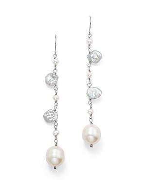 14k White Gold Cultured Freshwater And Keshi Pearl Drop Earrings