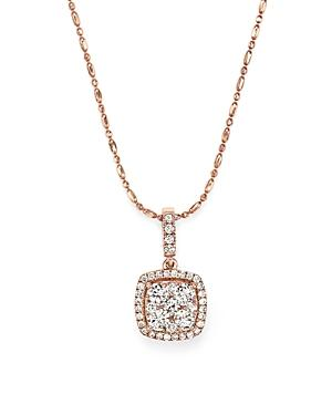 Diamond Pendant Necklace In 14k Rose Gold, .65 Ct. T.w.