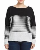 Eileen Fisher Plus Striped Boat-neck Sweater
