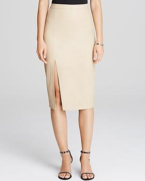 Bardot Faux Leather Side Slit Pencil Skirt